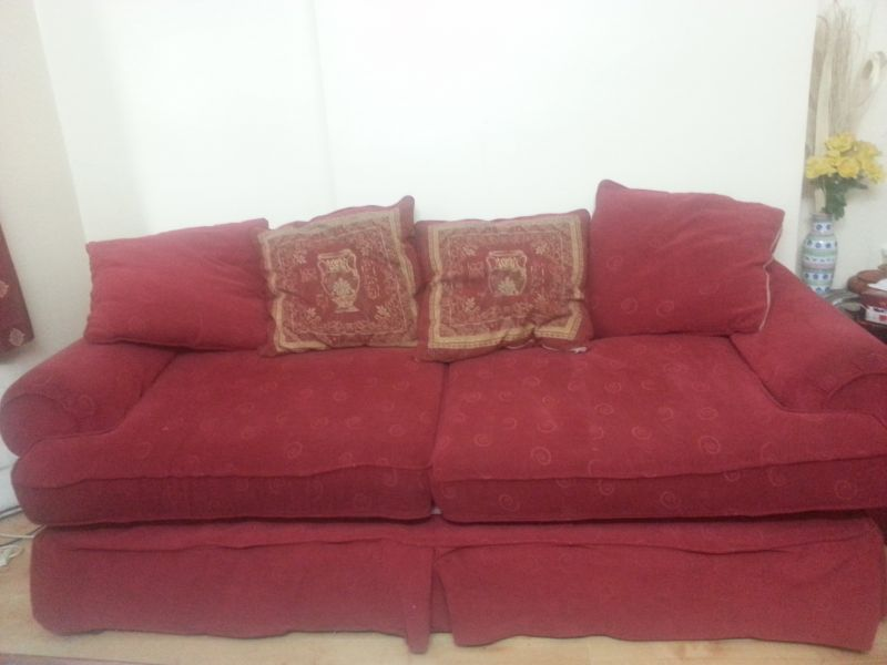Sofa set of 3 seater and 2 seater in red colour for QUICK sale
