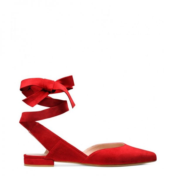 Stuart Weitzman The Supersonic Flat Suede Red