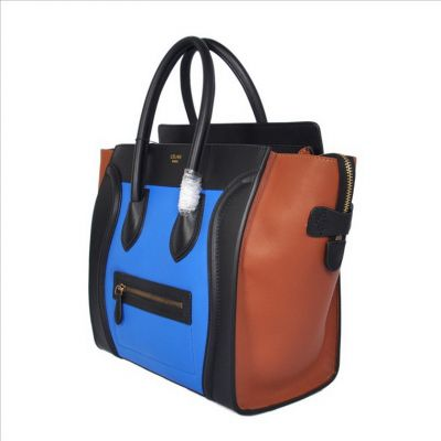 Celine Luggage Mini in Multicolor Pony Royal Blue handbag Wholesale;Free shipping;Paypal Payment.