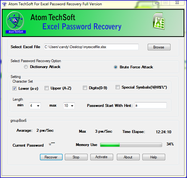 Recover Excel Password by Atom TechSoft Excel password recovery Tool