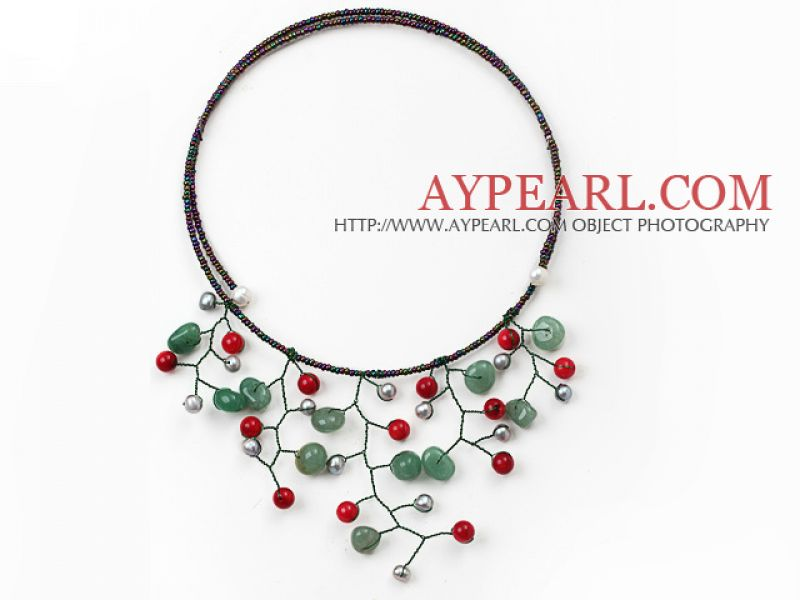 Elegant Coral Flower Necklace