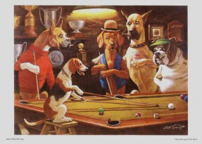 Billiards Playing funny dogs on Art prints