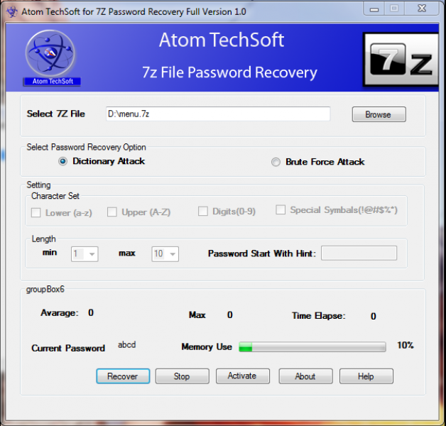Recover 7z Password & unlock locked 7z File By Atom Techsoft 7z Password Recovery Tool