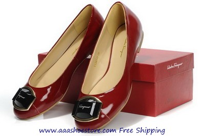 Salvatore Ferragamo The Fun Red Patent Leather Ballerina Flats Shoes Paypal Payment www.aaashoestore