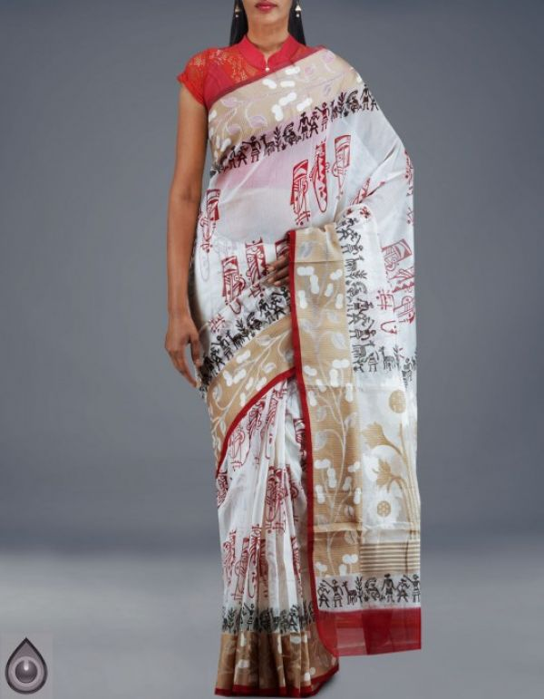 Online shopping for cream meghalaya jamdhani supernet sarees by unnatisilks