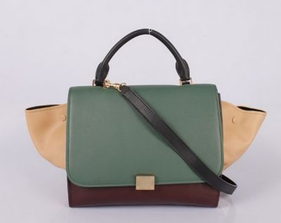 Wholesale Celine Trapeze in Multicolor Pony Royal Green Khaki Free shipping Paypal Payment www.leles