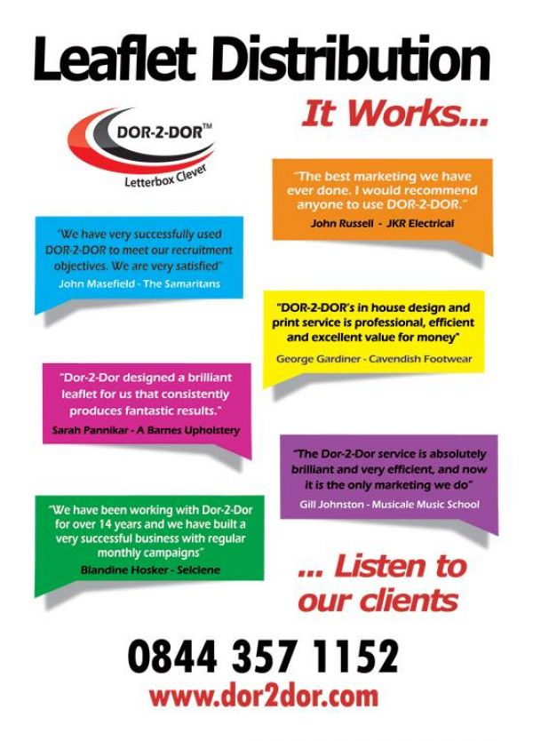 Dor-2-Dor London EAST-Leaflet design, print & distribution in EAST London