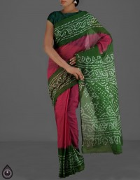 Online shopping for pure bandhani kota cotton plain sarees by unnatisilks