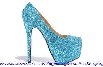 Wholesale Christian Louboutin Dafodile Strass Crystal Red Sole Pump Blue Free shipping Paypal paymen