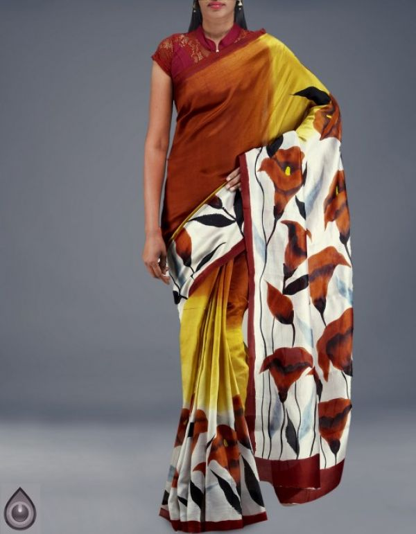 Online shopping for pure bengal dupion silk hand painted sarees by unnatisilks